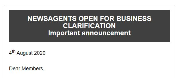 Important announcement: NEWSAGENTS OPEN FOR BUSINESS CLARIFICATION