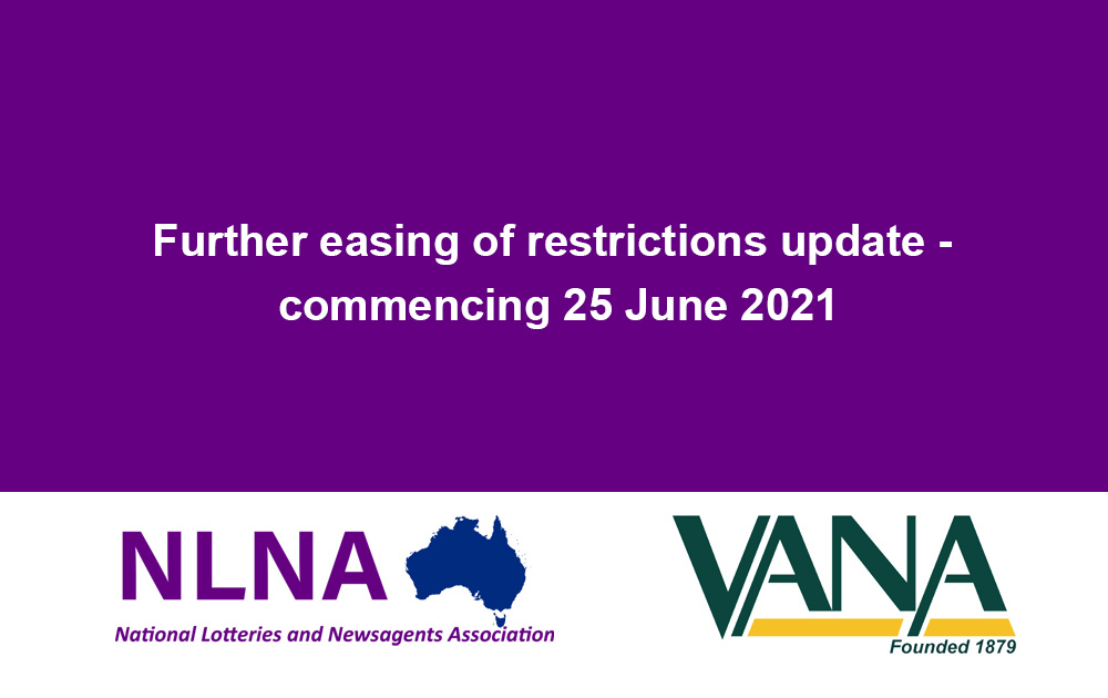 Further easing of restrictions update – commencing 25 June 2021