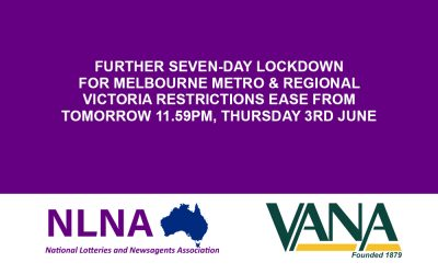 Further seven-day lockdown for Melbourne metro & Regional Victoria restrictions ease from tomorrow 11.59pm, Thursday 3rd June
