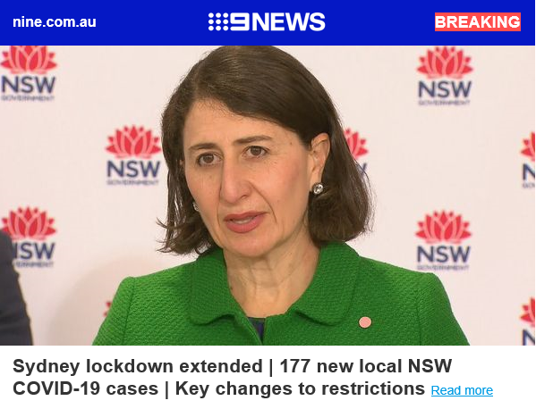 BREAKING: Greater Sydney lockdown extended | 177 new local NSW COVID-19 cases