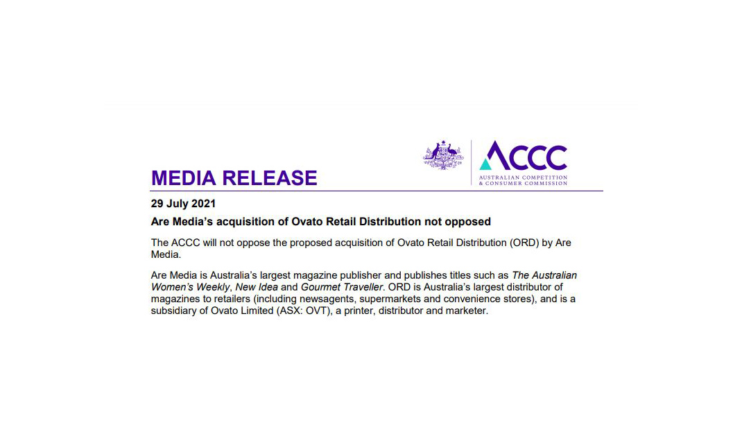 MEDIA RELEASE – Are Media's acquisition of Ovato Retail Distribution not opposed