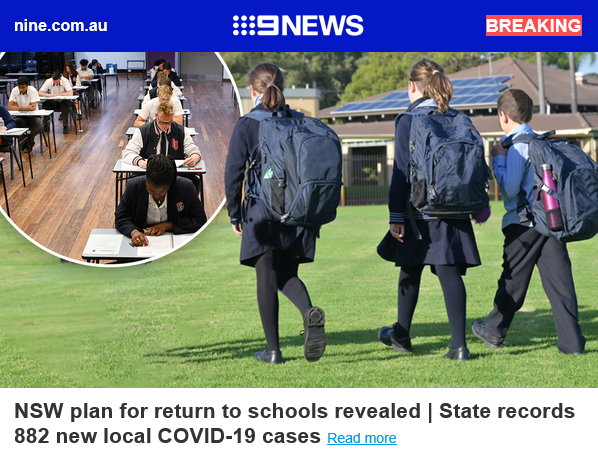 BREAKING: NSW return to school plan revealed   State records 882 new local COVID-19 cases