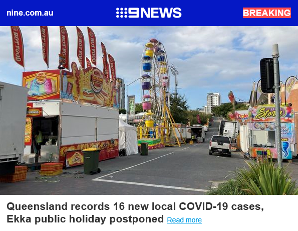 BREAKING: Queensland records 16 new local COVID-19 cases, Ekka public holiday postponed
