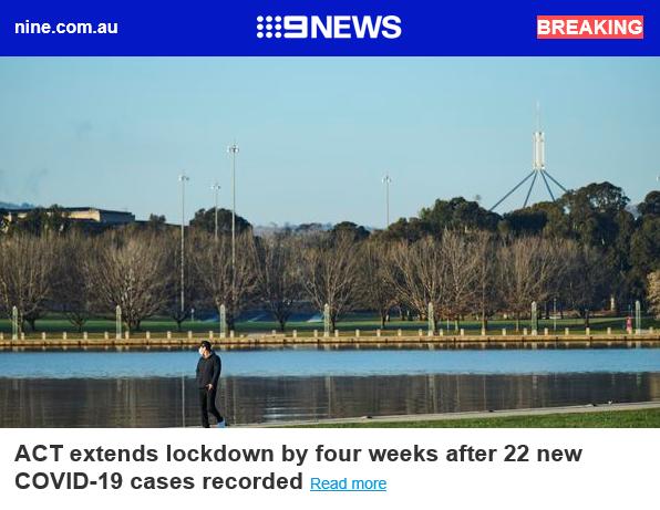 BREAKING: ACT extends lockdown by four weeks